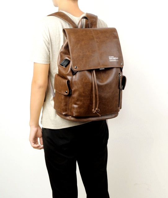PU Leather Travel Antitheft Backpack  14 Inch Laptop Rucksack (Light brown)