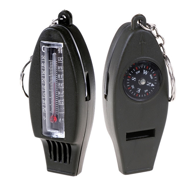 Multifunctional 4 in1 Compass Thermometer Whistle Magnifier