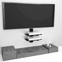 Floating Wall Mounted Shelf with Strengthened Tempered Glasses for DVD Players,Cable Boxes, Games Consoles, TV Accessories