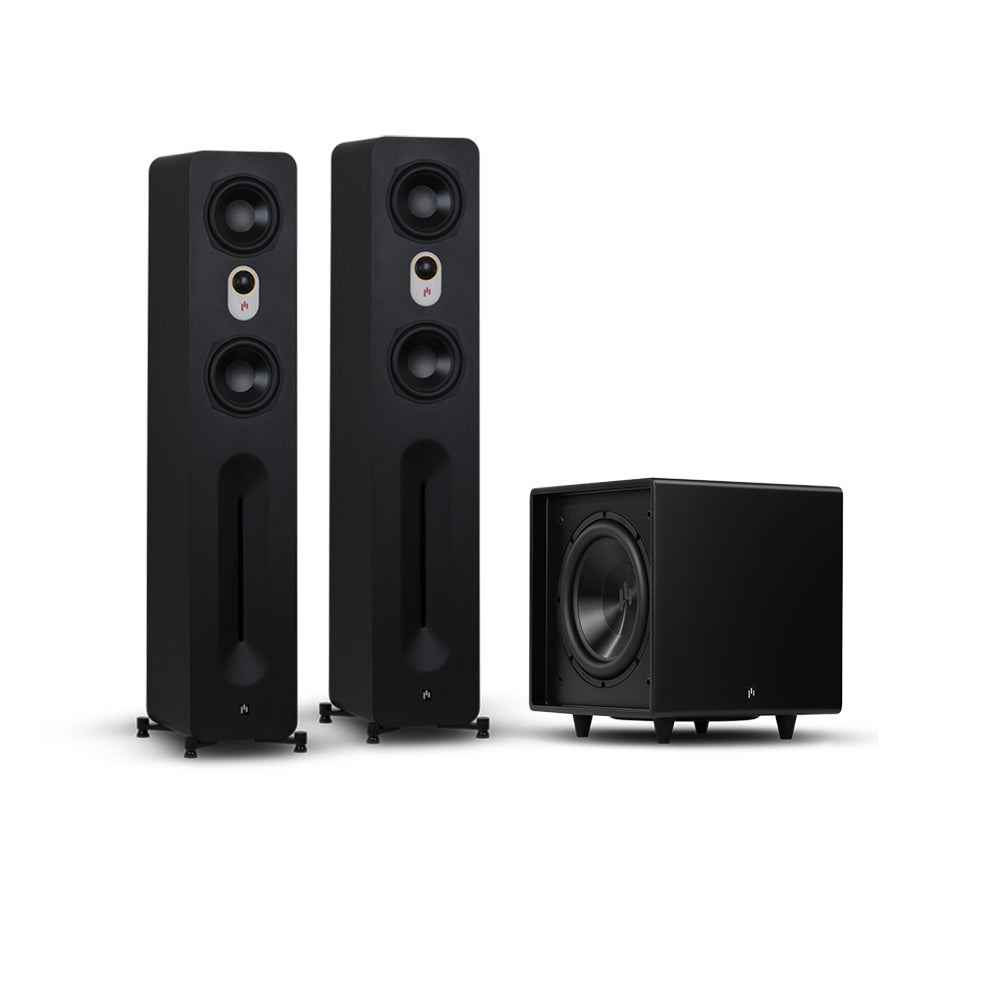 "Novus 5.25"" Tower 2.1 Speaker System with Bravus II 10D Powered Subwoofer System"