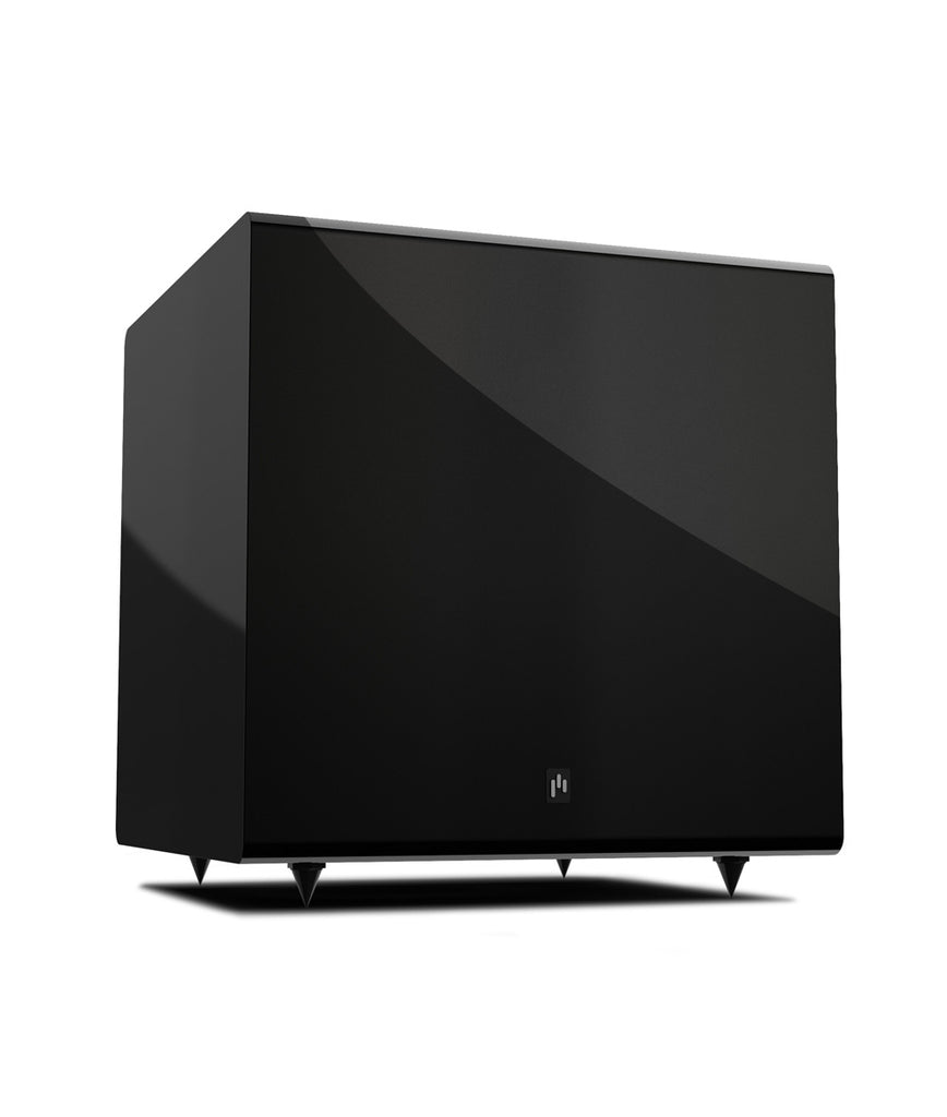"Aperion Audio Bravus 8A 100W Class AB 8"" Powered Subwoofer Downfire Ported (High Gloss Black)"