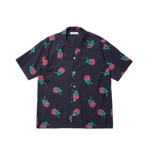 ROTTWEILER / Rose Open Collar SS Shirts (NAVY)