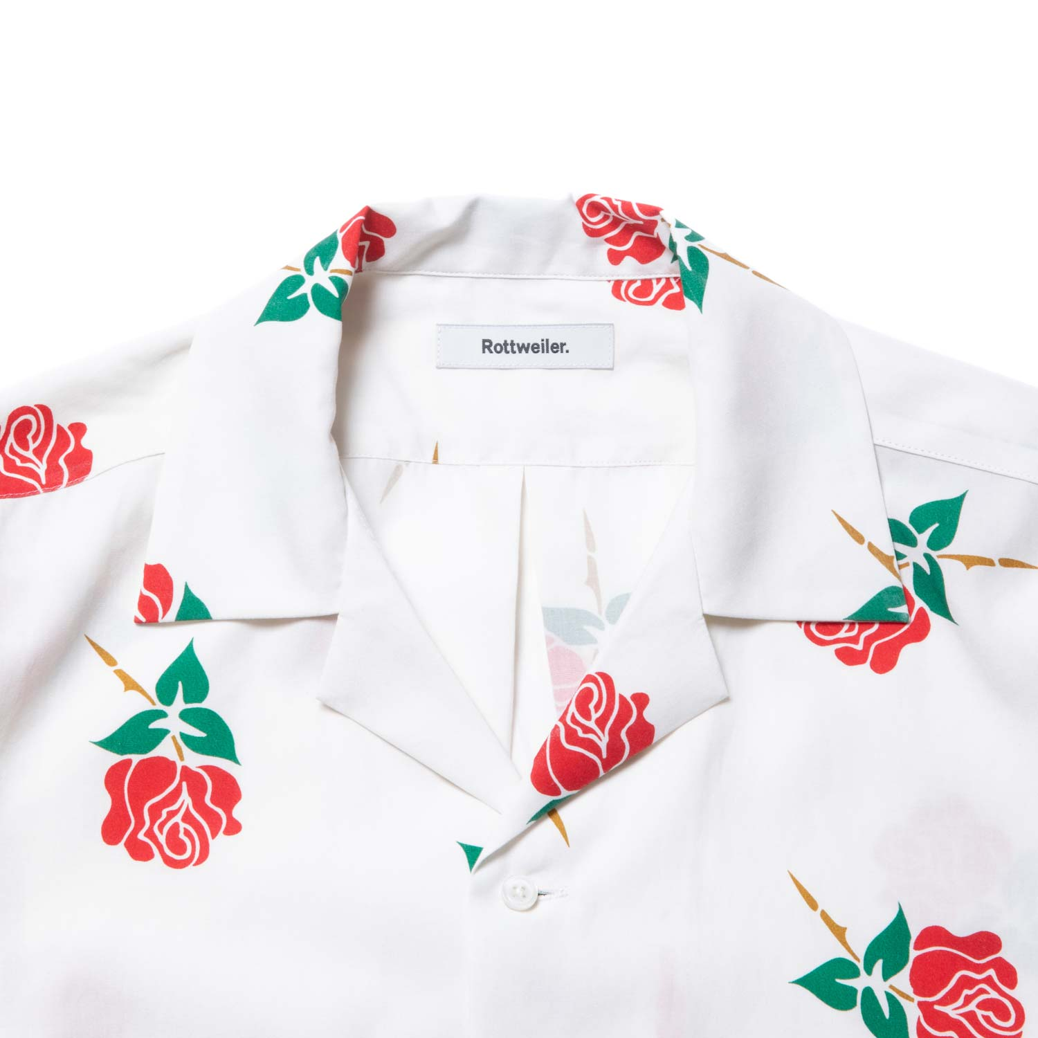 ROTTWEILER / Rose Open Collar SS Shirts (WHITE)