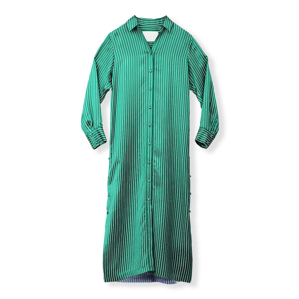 MYLAN / Bi-color stripe shirt dress (GREEN)