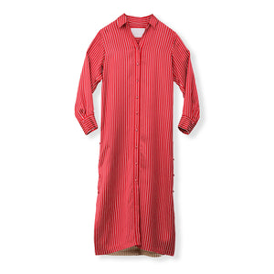 MYLAN / Bi-color stripe shirt dress (Red)