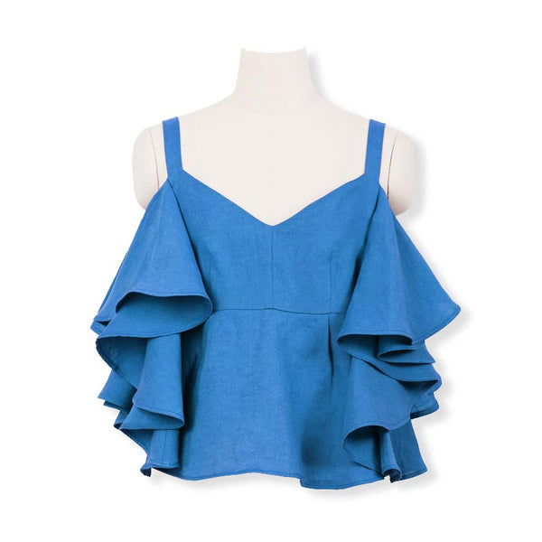 MYLAN / Color Linen Ruffle Blouse (Sky blue)