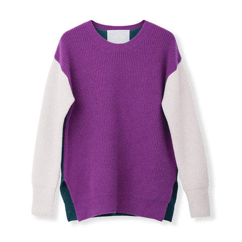 MYLAN / Color-brock oversize knit (Orchid)