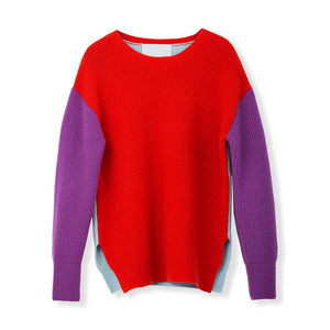 MYLAN / Color-brock oversize knit (Coral Red)