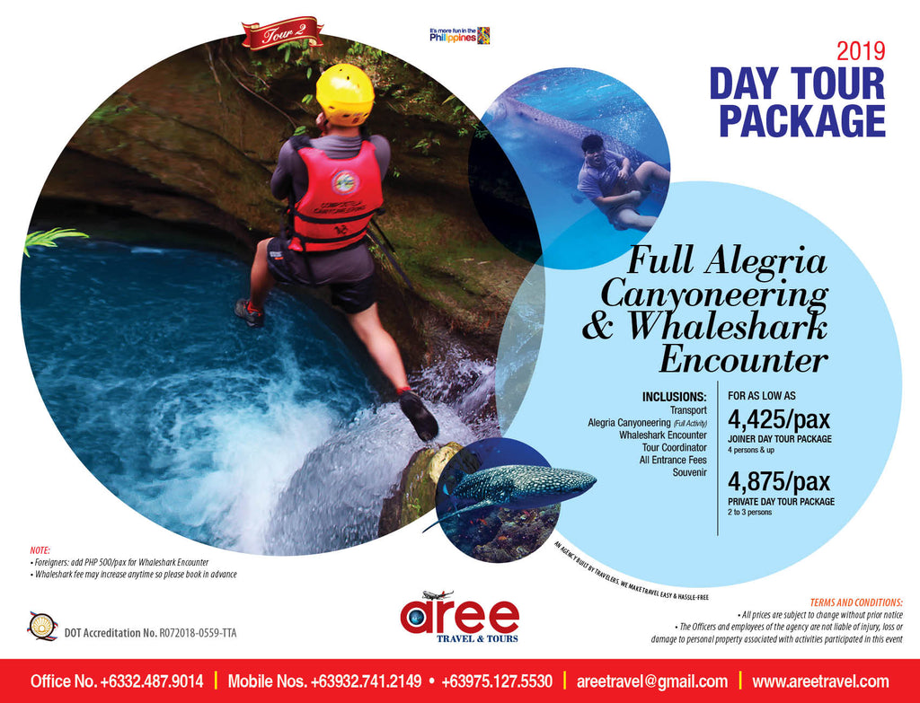 DAY TOUR PACKAGE-Full Alegria Canyoneering & Whaleshark Encounter - AREE TRAVEL & TOURS