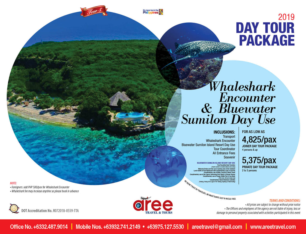 DAY TOUR PACKAGE-Whaleshark Encounter & Bluewater Sumilon Day Use - AREE TRAVEL & TOURS