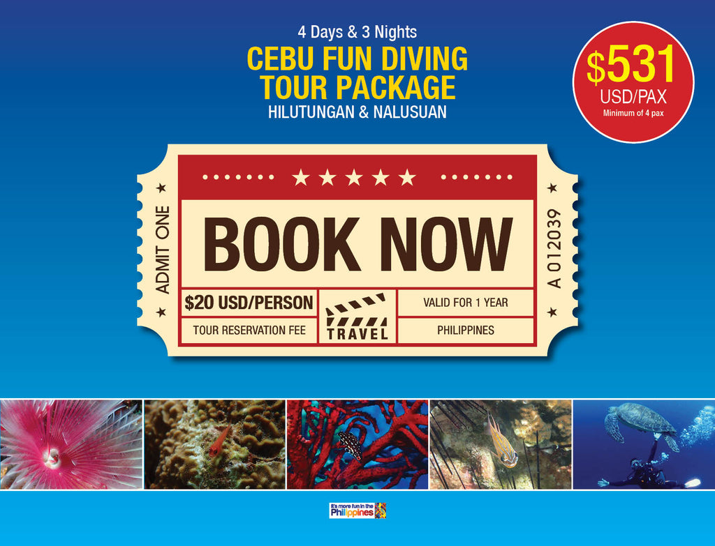4D/3N CEBU FUN DIVING TOUR PACKAGE HILUTUNGAN & NALUSUAN $531 USD/PAX - AREE TRAVEL & TOURS