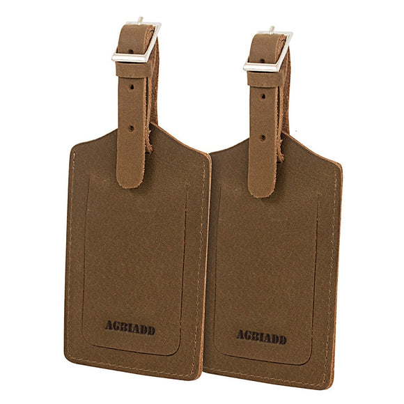 2 Pc Genuine Leather Travel Bag Tag