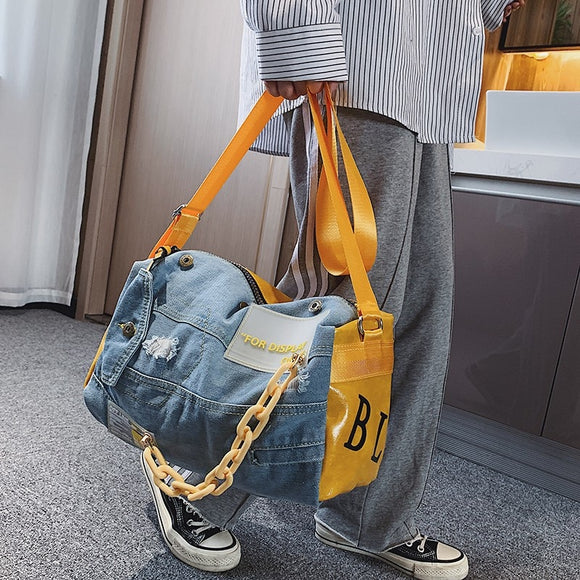 Fashion Denim Travel Duffle Bag