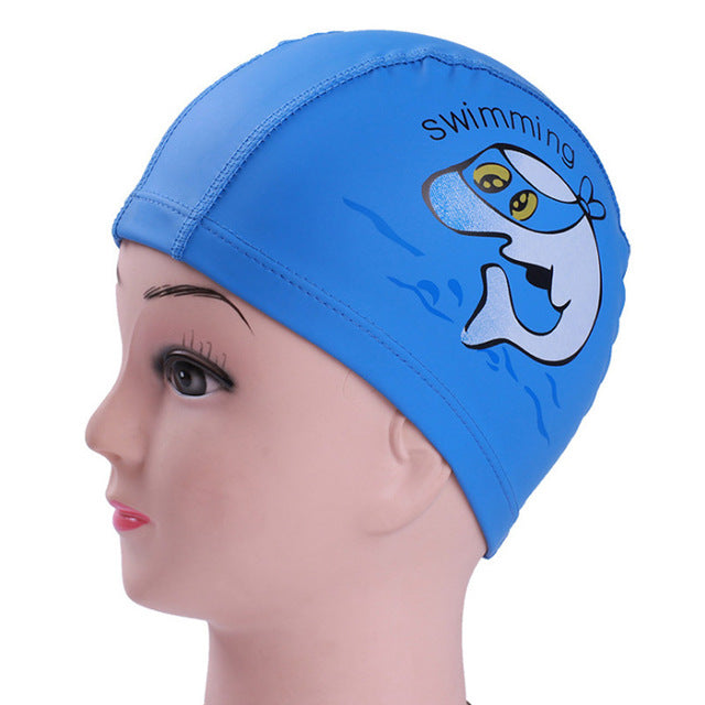 Elastic Cartoon Children  Swimming  Caps