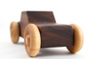 Wooden toy car in a gorgeous rich walnut brown and handmade in the United States.