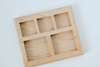Three part wooden tray for math and montessori activities.