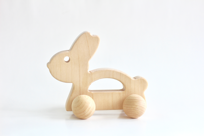 Wooden bunny toy for babies and toddlers.