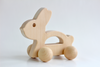 Wooden bunny toy for babies and toddlers made with all natural and organic materials.