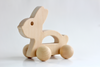 Baby bunny wooden push toy handmade in the United States.