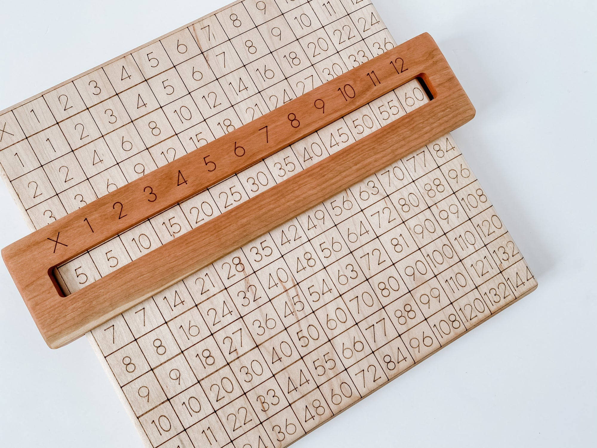 Wooden multiplication board with a viewfinder.