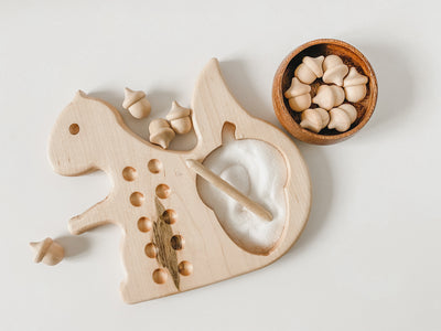 Wooden squirrel ten frame for preschool and kindergarten math.