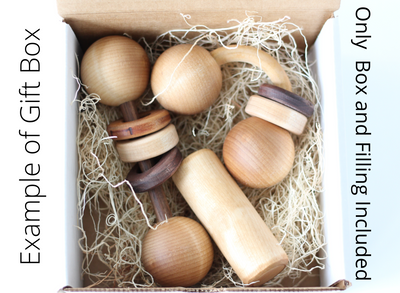 Example of our gift box with wooden baby toys.