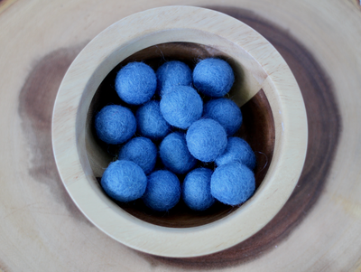 Blue felt balls for fun math counters and sensory play.