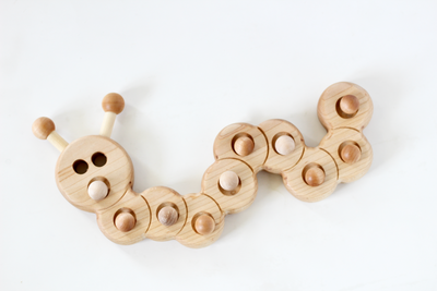 Wooden caterpillar ten frame for play based learning and unit studies.