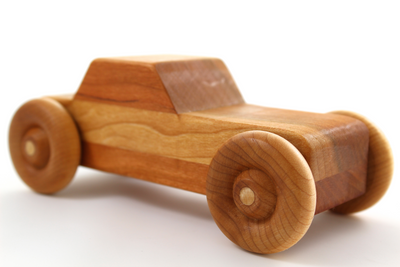 Wooden toy car for kids and handmade in the United States.