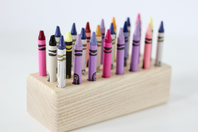 Wooden Crayola crayon holder.
