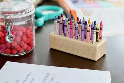 Montessori wooden crayon holder.
