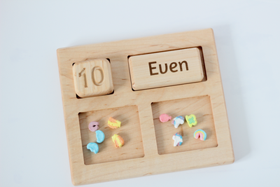 Wooden math activity for learning odd and even numbers.