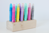 Wooden crayon holder and storage organization ideas for crayons, markers, and chalk markers.