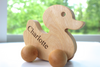 Duck wooden toy with the personalized name Charlotte.