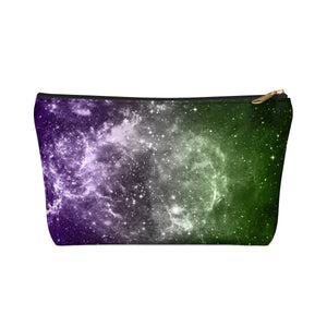Genderqueer Pride Galaxy Accessory or Makeup Pouch w T-bottom