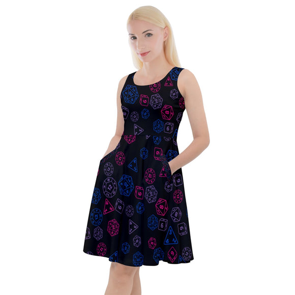 Bisexual Pride Scattered Dice Knee Length Skater Dress With Pockets