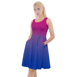 Bisexual Pride Soft Fade Knee Length Skater Dress With Pockets