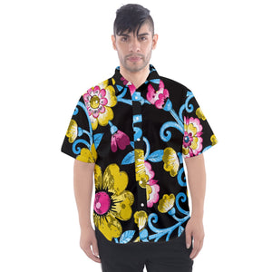 Pansexual Pride Painted Floral Men's Short Sleeve Shirt