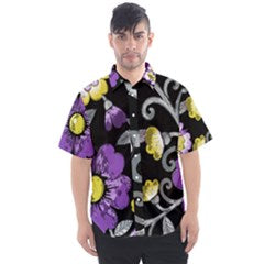Non-Binary Pride Painted Floral Men's Short Sleeve Shirt