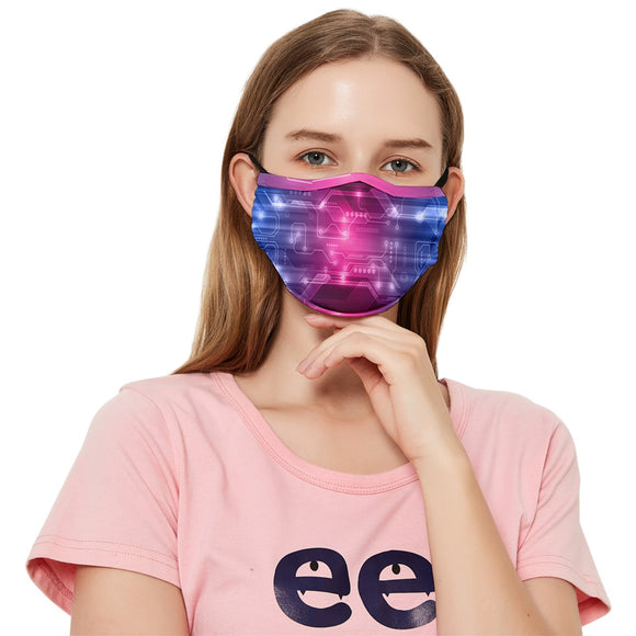 Bisexual Pride Circuitboard Fitted Cloth Face Mask (Adult)