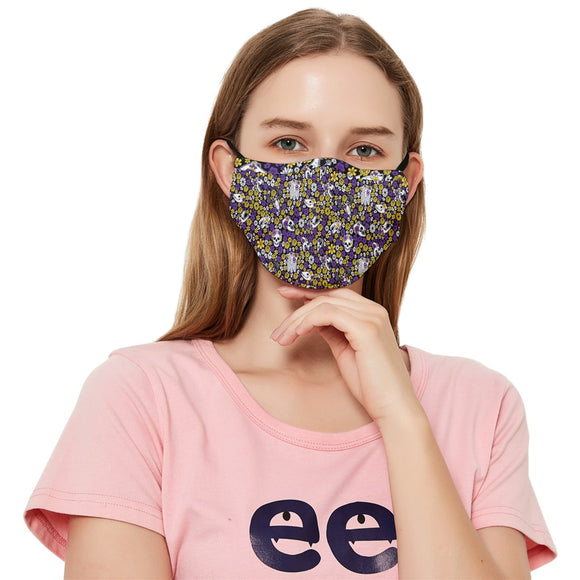 Non-Binary Pride Scattered Skulls Fitted Cloth Face Mask (Adult)