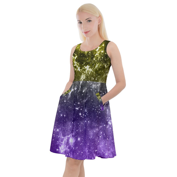 Non-Binary Pride Galaxy Knee Length Skater Dress With Pockets