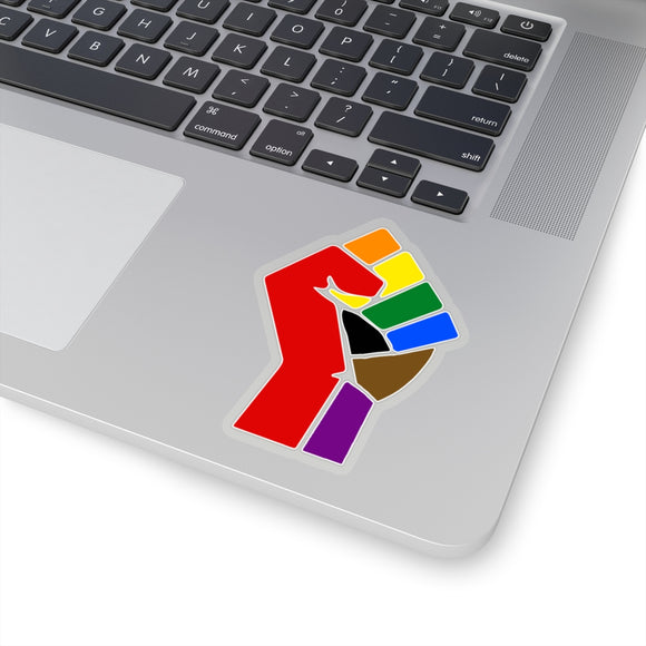 More Color More Pride Raised Fist Kiss-Cut Stickers