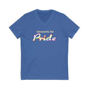 Introverts For Pride  Unisex Jersey Short Sleeve V-Neck Tee
