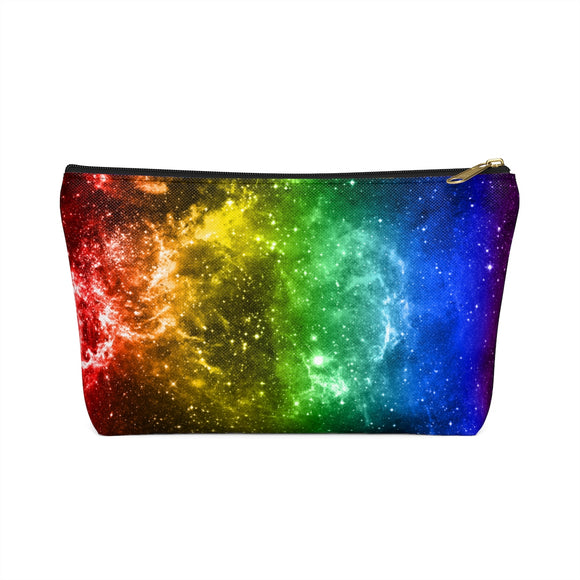 Rainbow Gay Pride Galaxy Accessory or Makeup Pouch w T-bottom