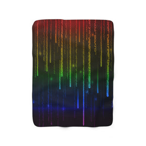 Rainbow Gay Pride Matrix Sherpa Fleece Blanket