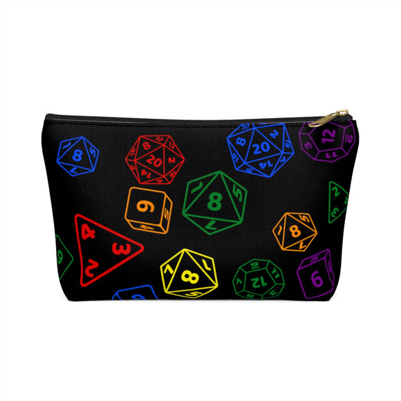 Rainbow Gay Pride Scattered Dice Accessory or Makeup Pouch w T-bottom