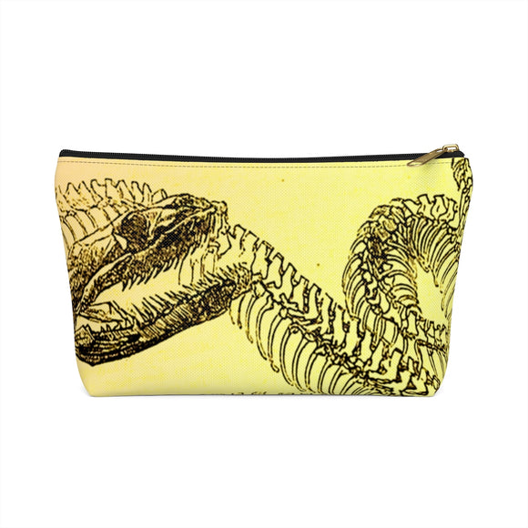 Vintage Snake Skeleton Accessory or Makeup Pouch w T-bottom