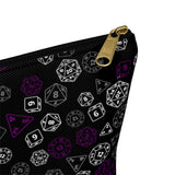 Asexual and Aromantic Scattered Dice Accessory or Makeup Pouch w T-bottom