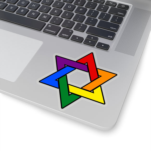 Rainbow Gay Pride Star Of David Kiss-Cut Stickers